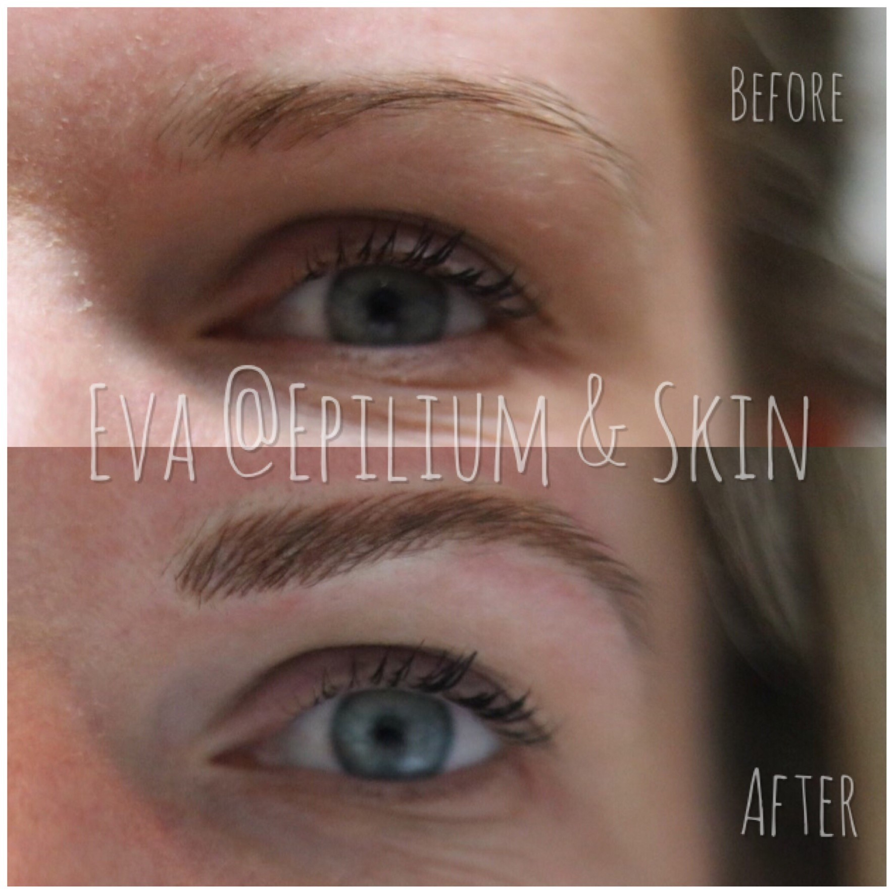 Before and after woman's eyebrows after microblading micropigmentation semi permanent Makeup treatment