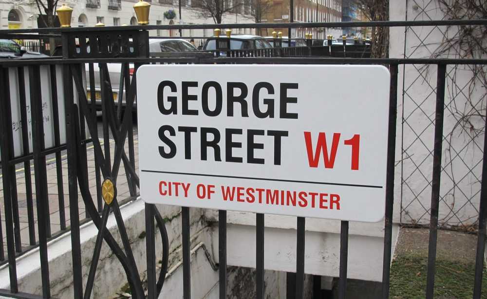 George Street W1 sign in City of Westminster UK