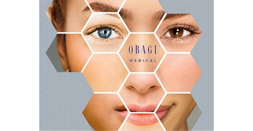 Woman's face in geometric pattern with Obagi Medical logo
