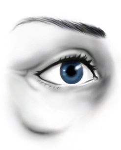 Illustration of woman's eye for malar bag surgery and cheekbone fat transfer