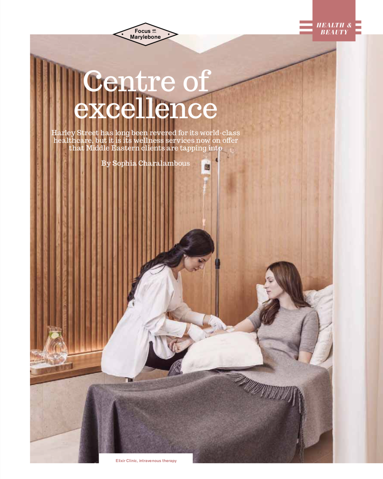 Health and Beauty Magazine cover for article 'Centre of Excellence' by Sophia Charalambous